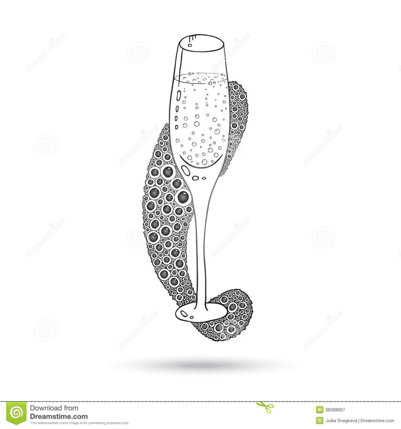 Wine Glass On The Doodle Circular Pattern Isolated Royalty
