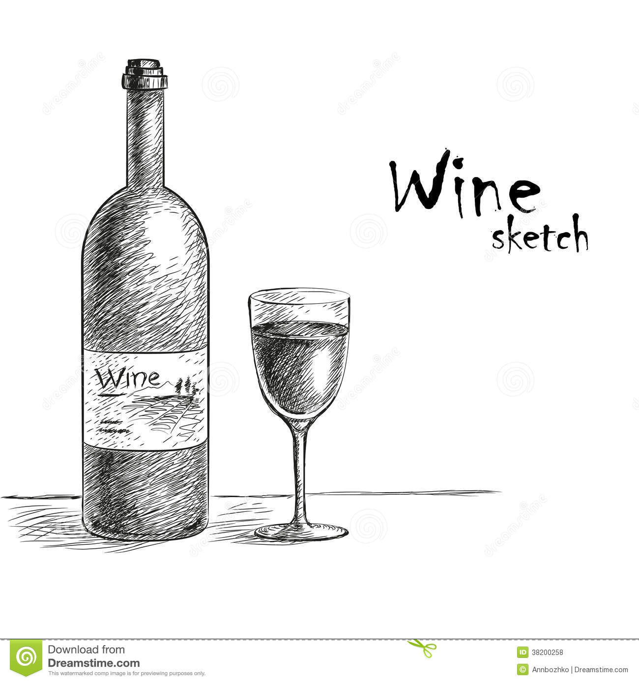 Wine and glass sketch stock vector. Illustration of ornate