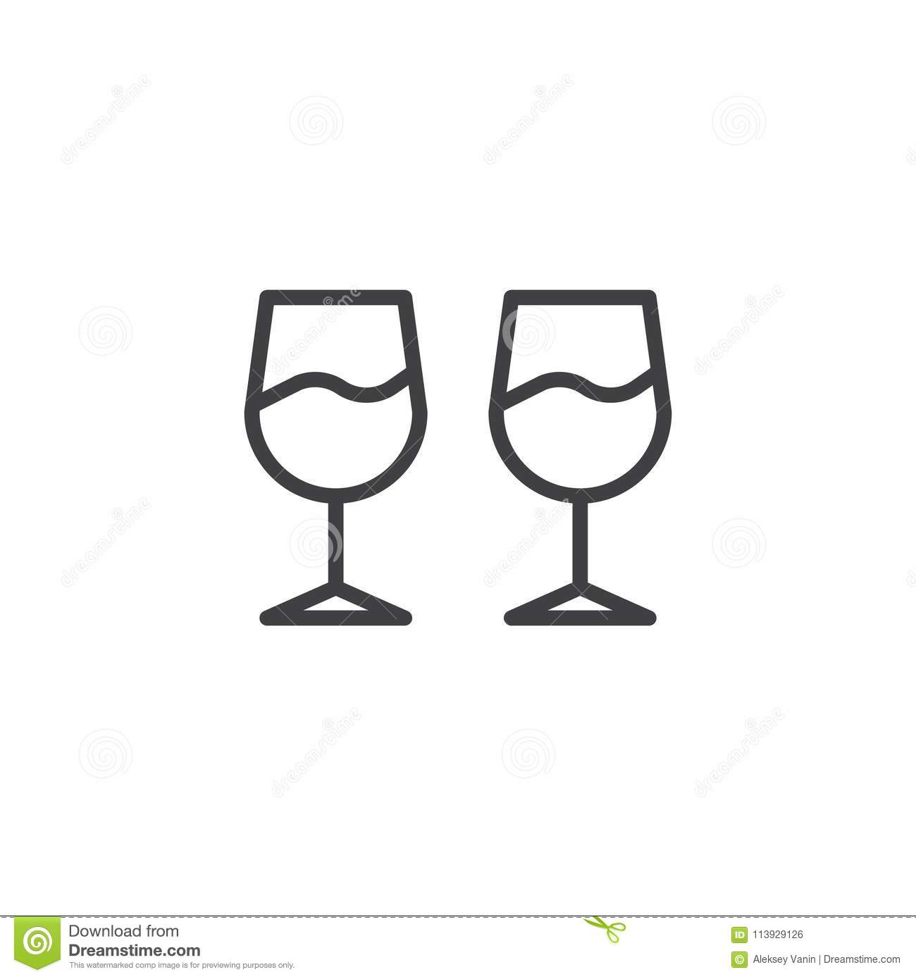 Wine glasses outline icon stock vector. Illustration of