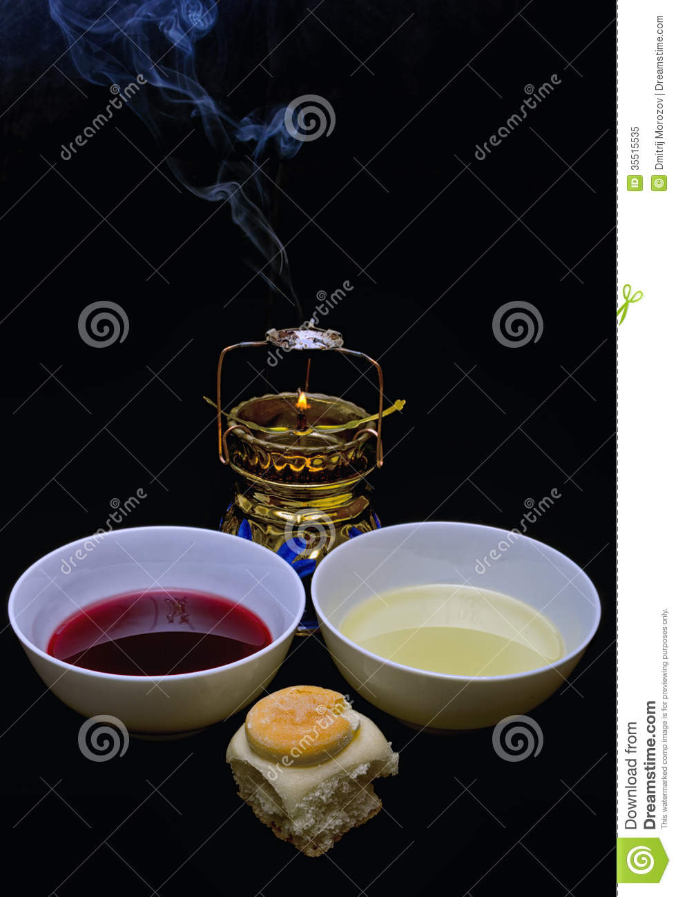 Wine Holy Anointing Oil And Prosphora Preparing For Lity