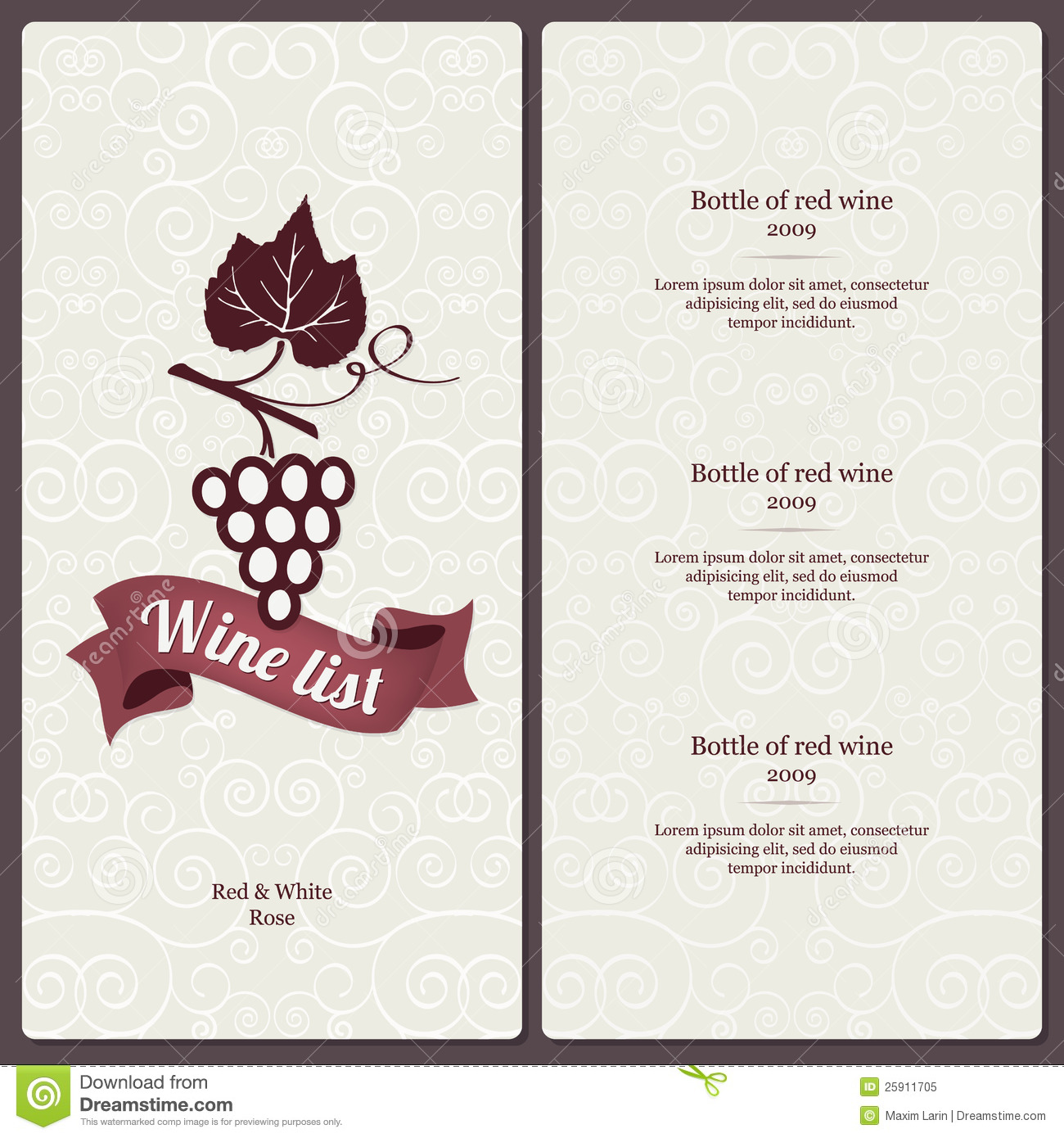 Wine list design stock vector Image of concept cover