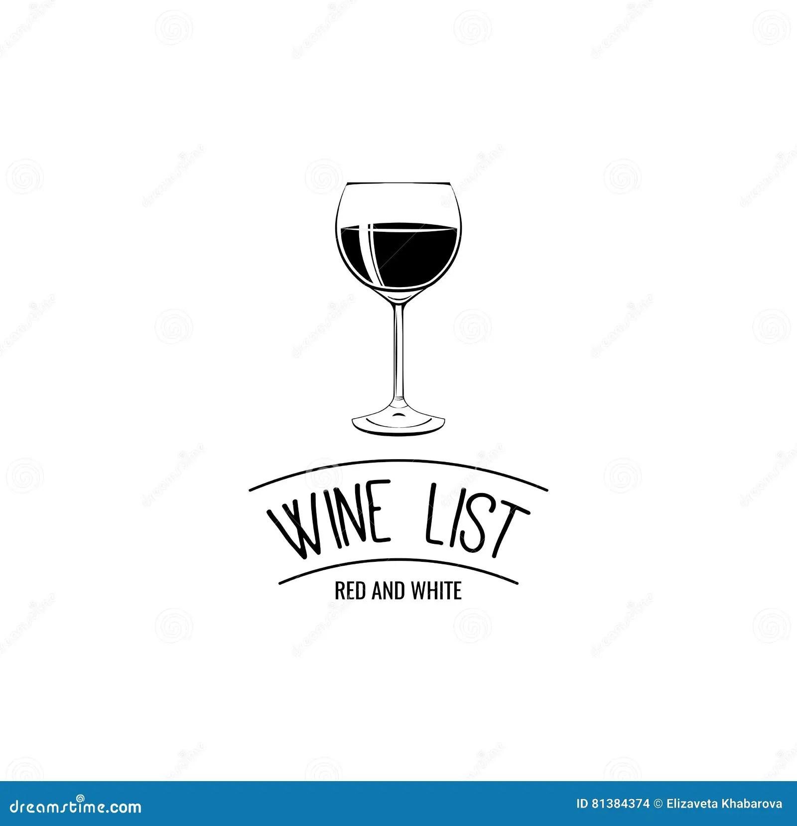 Wine List Glass Menu Card Design Template. Stock Vector