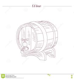 wine tun hand drawn realistic detailed sketch in beautiful classy style on white background [ 1300 x 1390 Pixel ]