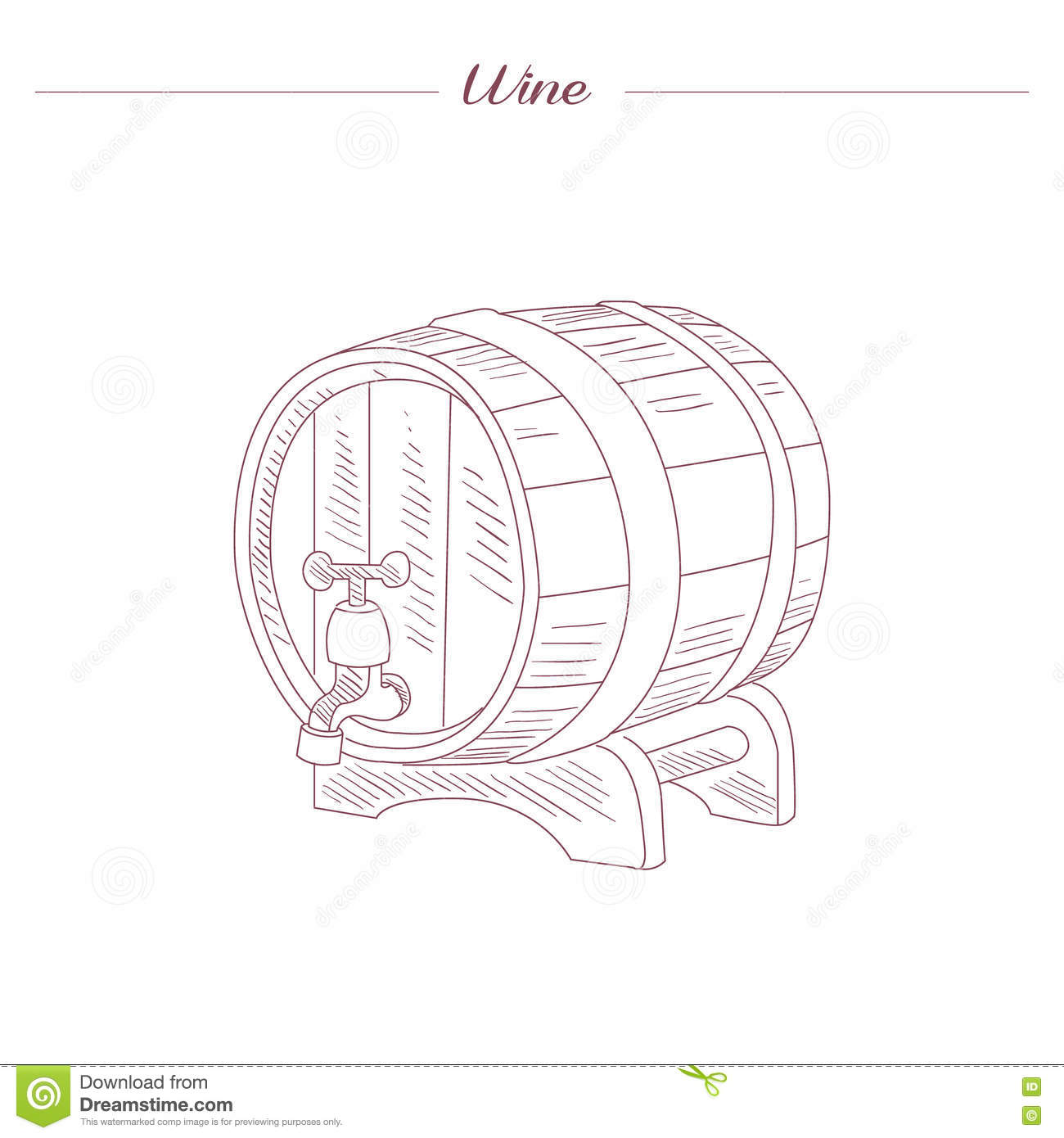 hight resolution of wine tun hand drawn realistic detailed sketch in beautiful classy style on white background