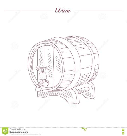 small resolution of wine tun hand drawn realistic detailed sketch in beautiful classy style on white background