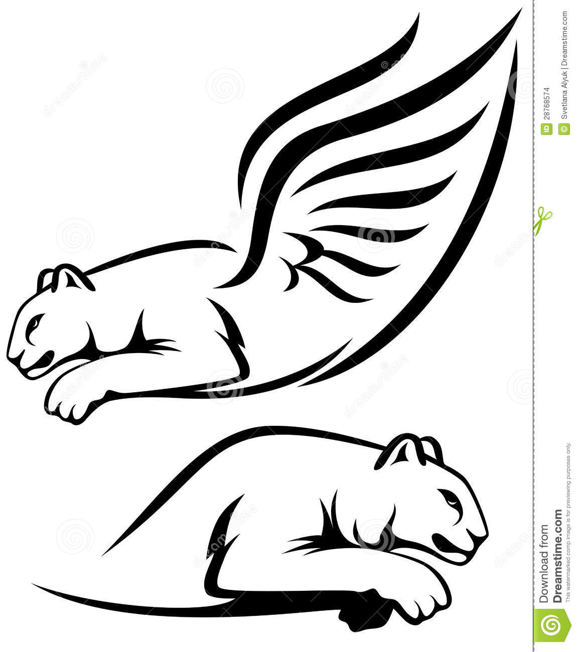 Winged Lions Design Stock Vector Illustration Of