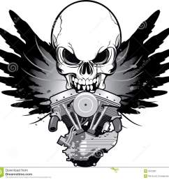 winged motorcycle engine with skull [ 1300 x 1258 Pixel ]