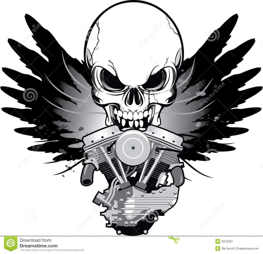 medium resolution of winged motorcycle engine with skull