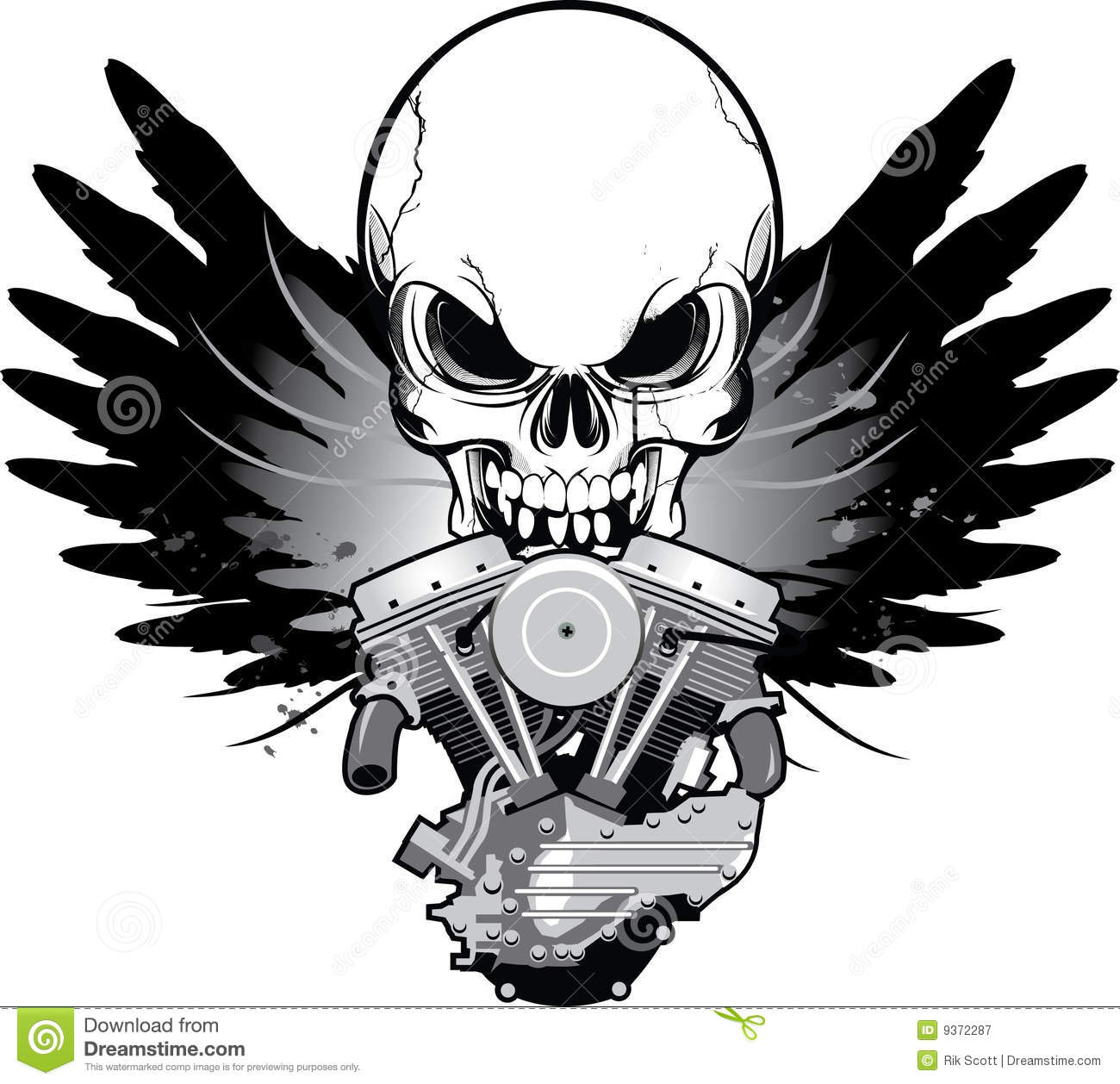 hight resolution of winged motorcycle engine with skull