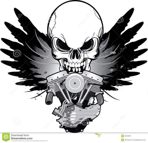 small resolution of winged motorcycle engine with skull