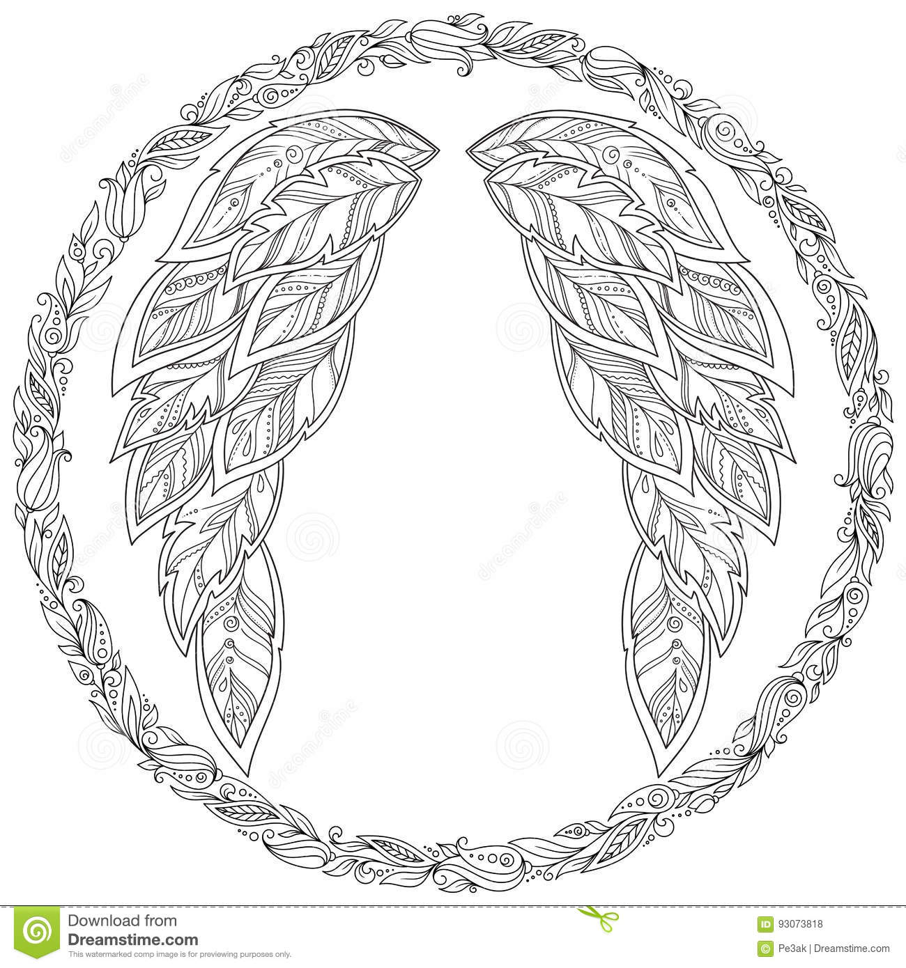 Wings Feather Pattern For Coloring Book Stock Vector