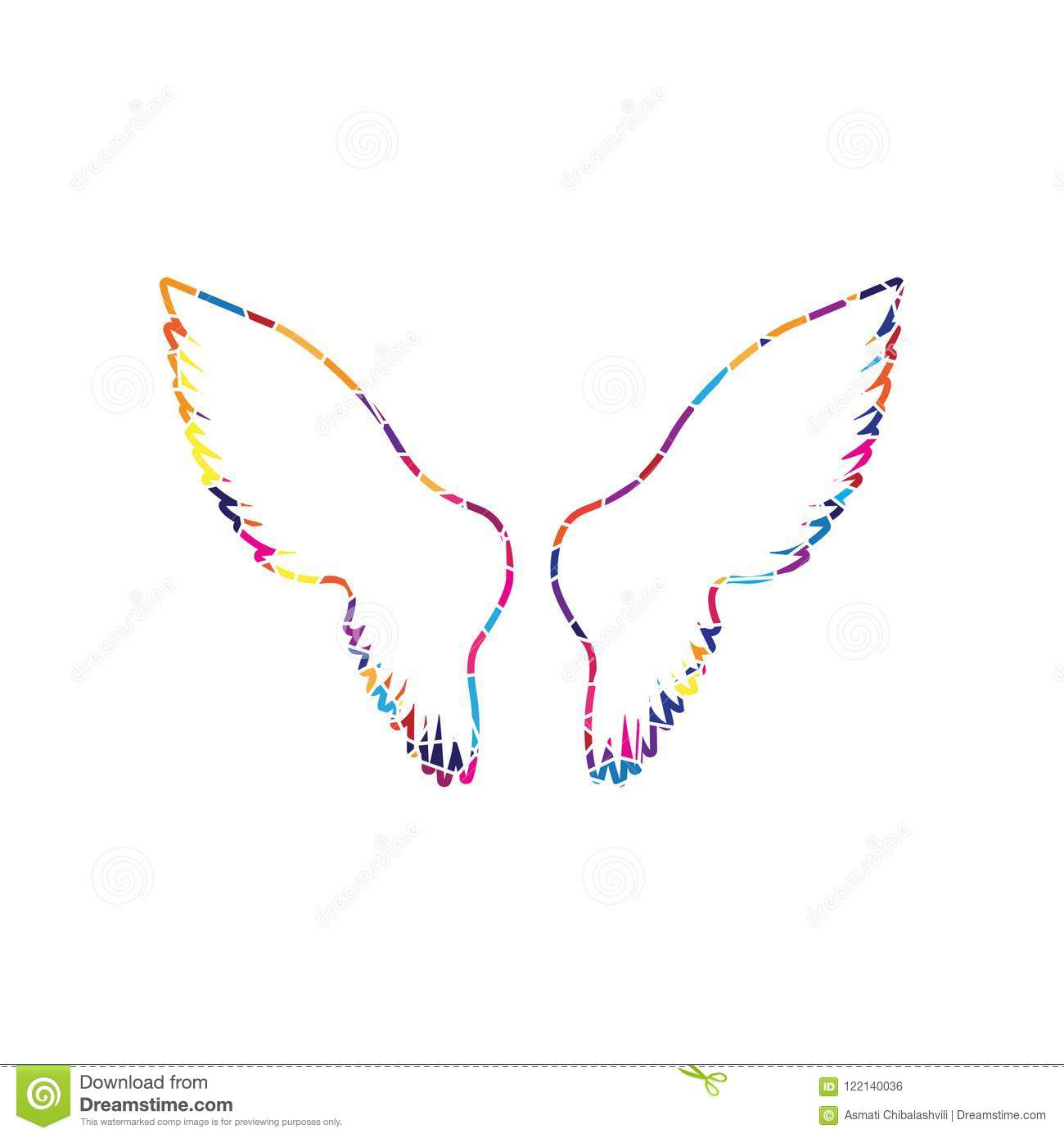 hight resolution of wings sign illustration vector stained glass icon on white background colorful polygons isolated
