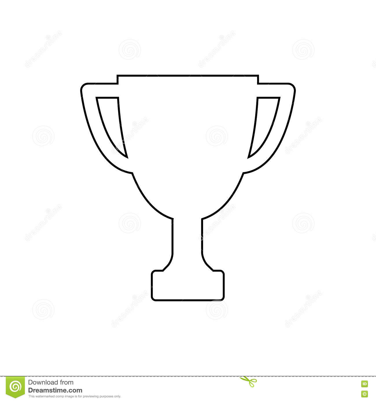 Winner Trophy Cup Outline Icon Linear Vector Illustration