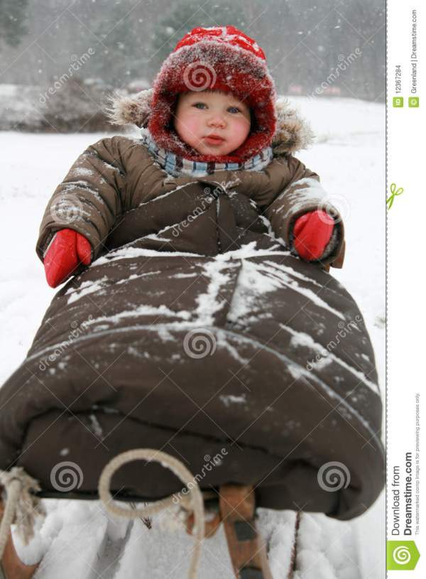 Winter Baby Sled Stock Of Child Dress