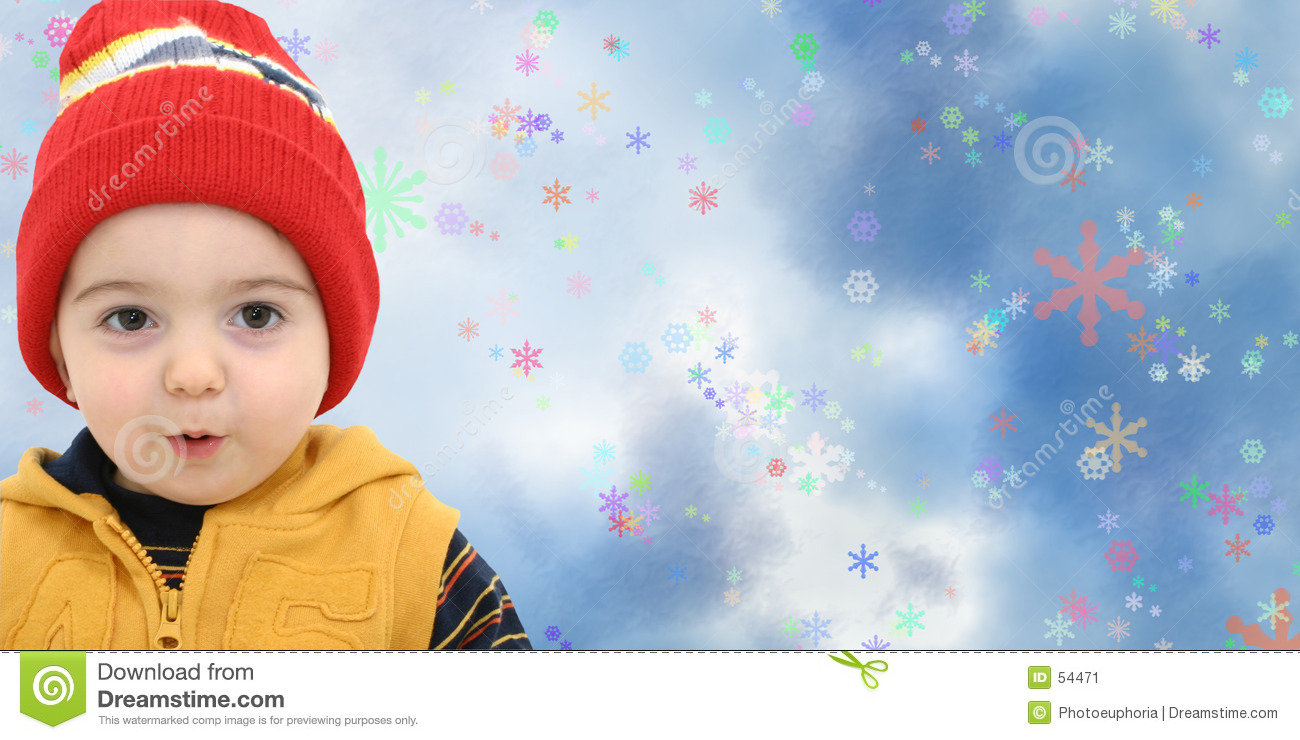 Winter Boy Child On Magical Snowflake Background Stock