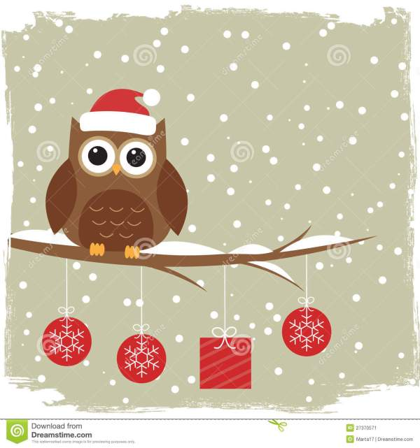 Winter Card With Cute Owl Stock - 27370571