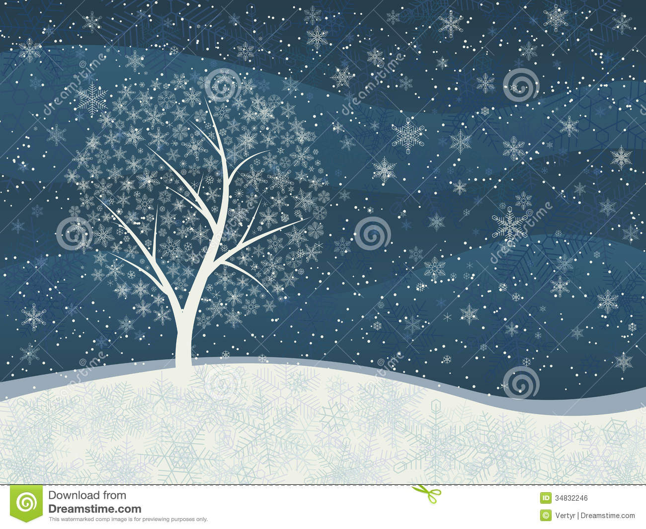Winter Card Of Snowfall With Snowy Tree Stock Vector