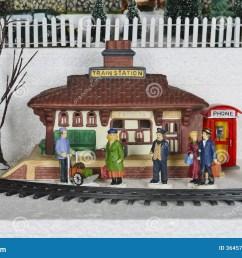 winter christmas village train station scene [ 1300 x 958 Pixel ]