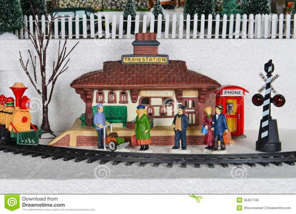 medium resolution of winter christmas village train station scene