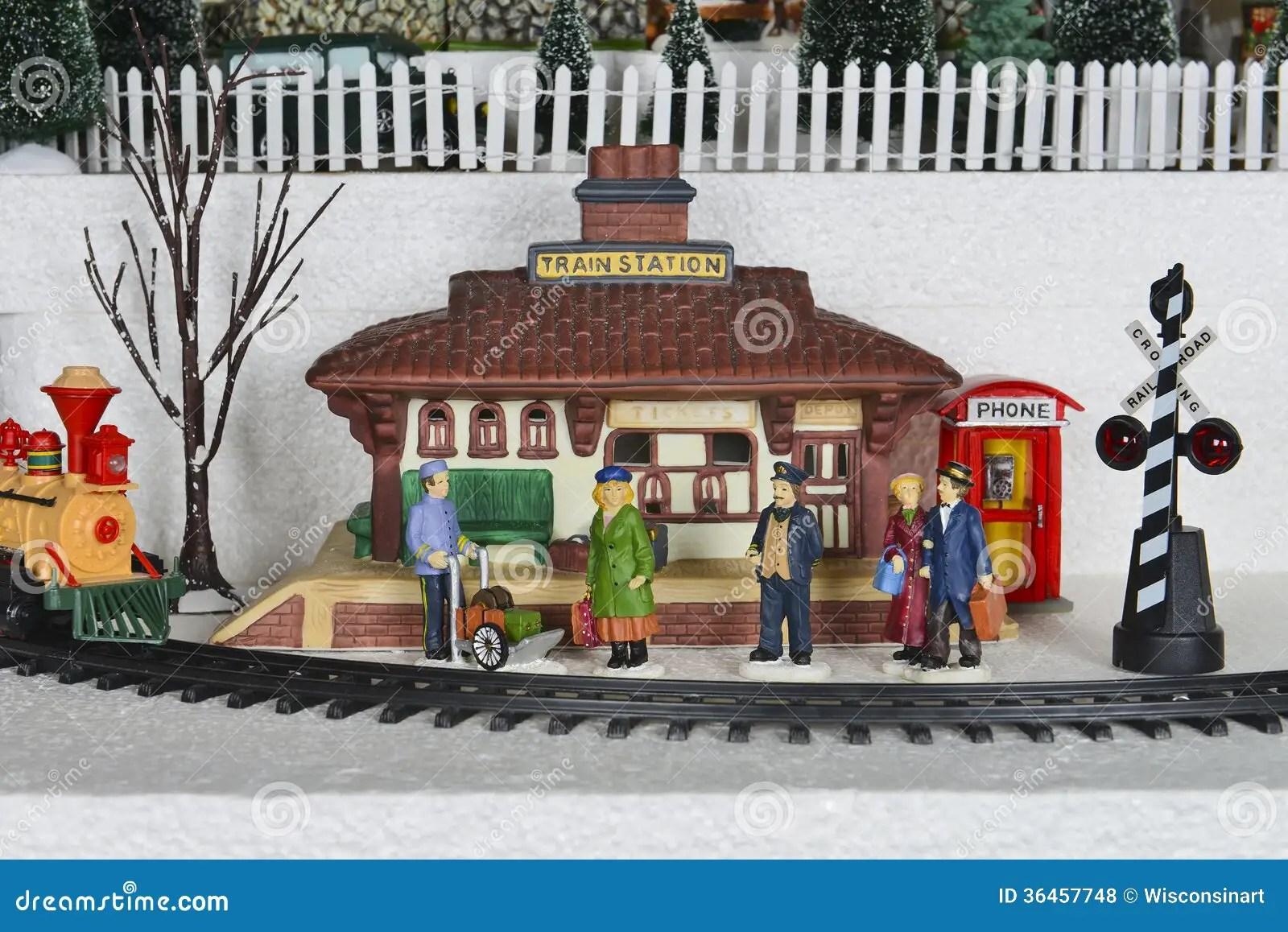 hight resolution of winter christmas village train station scene