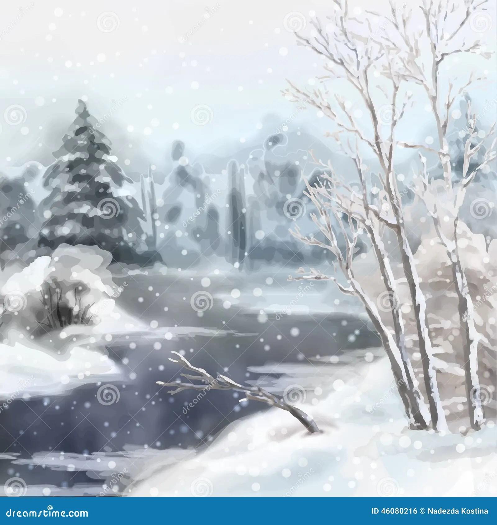 WinterDigitalAquarellLandschaft Vektor Abbildung