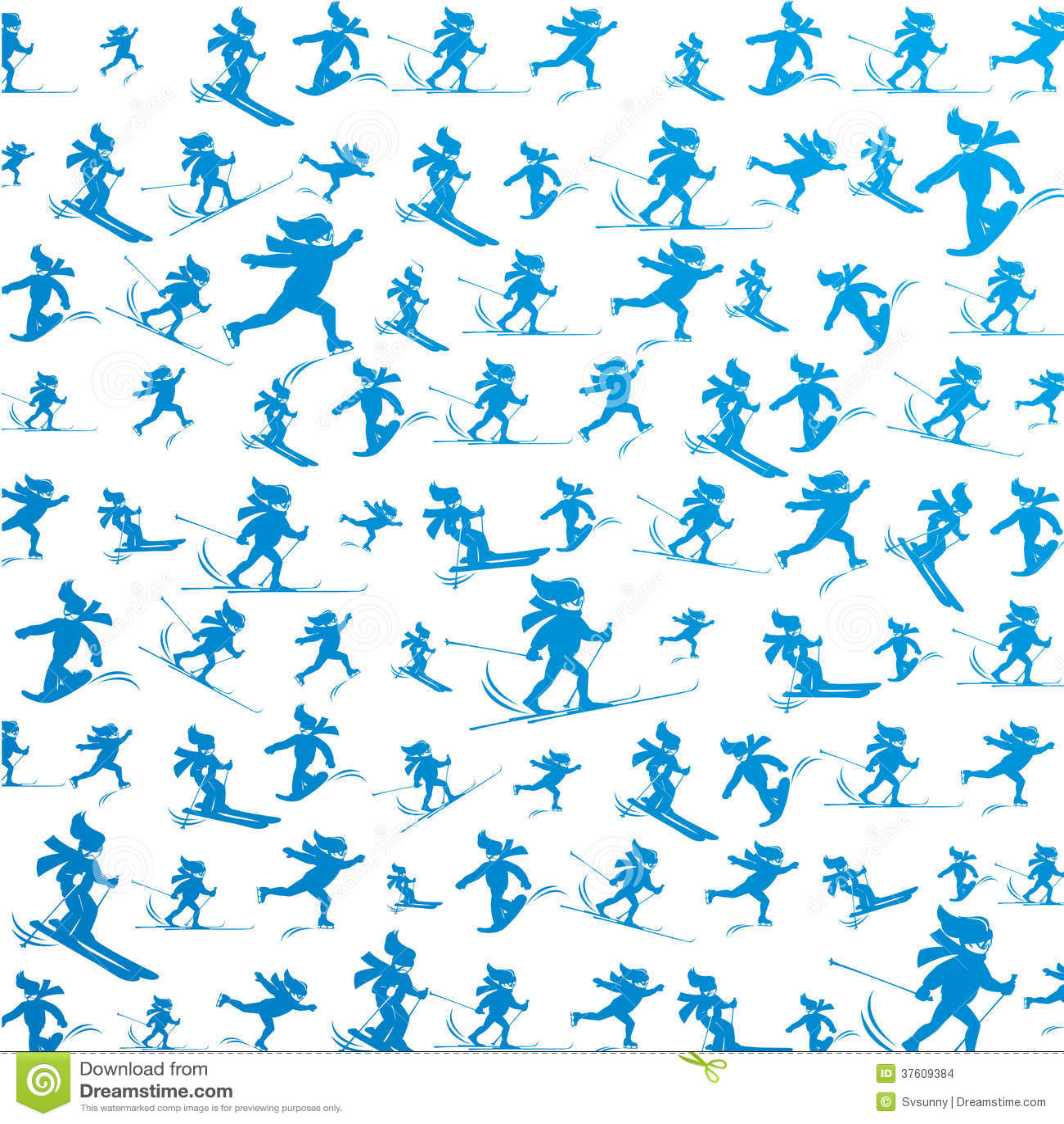 Winter Extreme Sport Pattern Stock Illustration