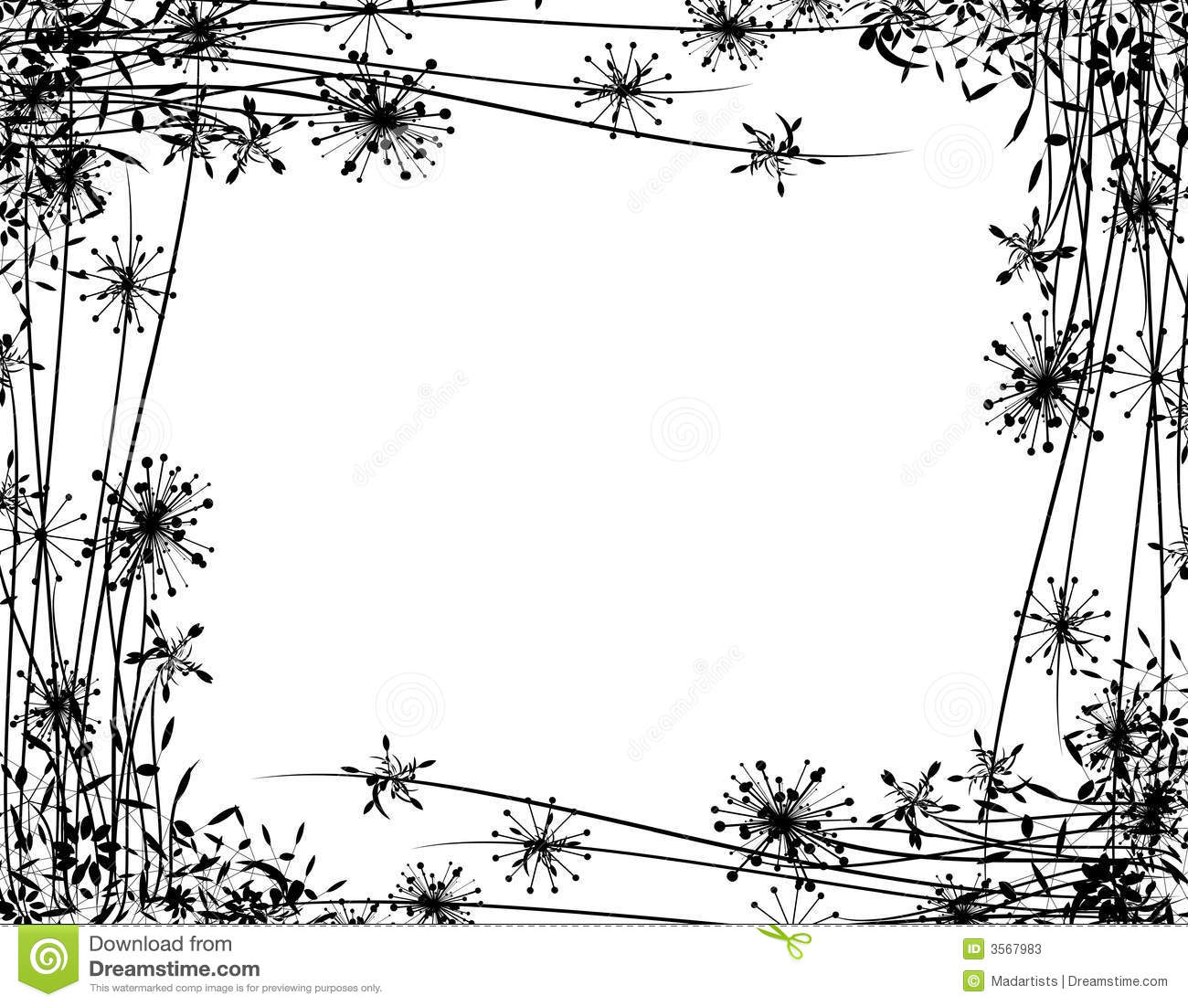 Winter Flower Garden Border Stock Illustration
