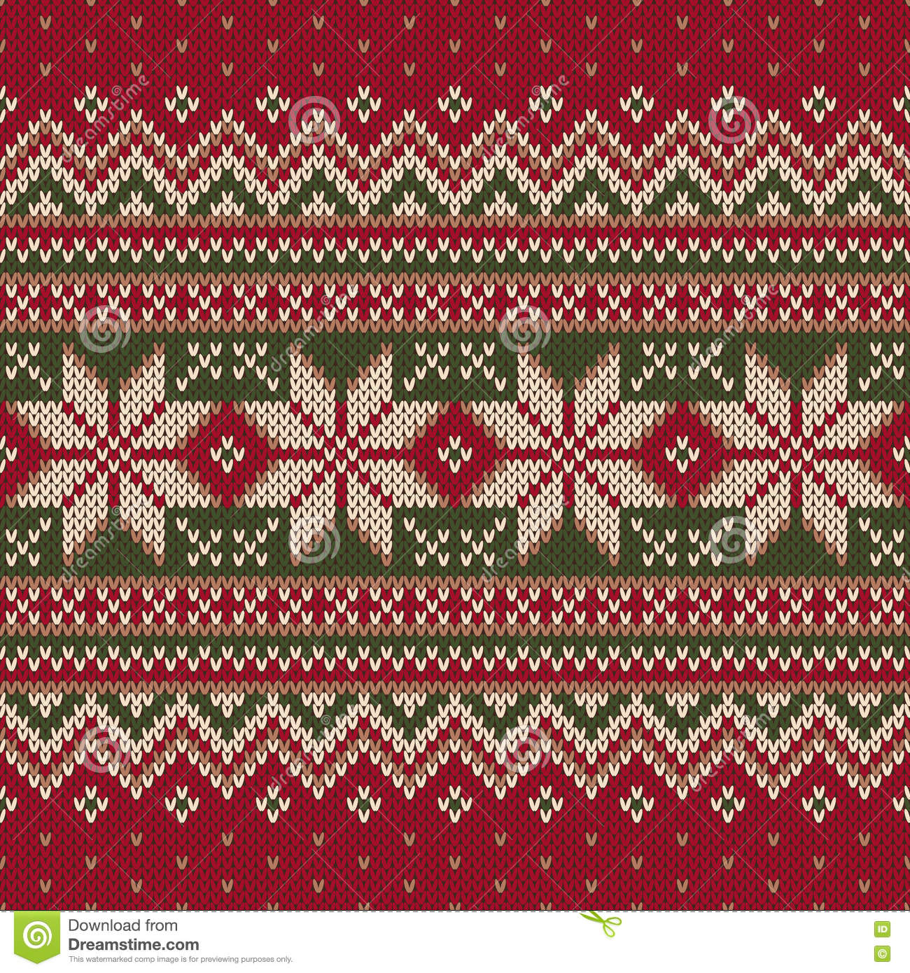 Winter Holiday Fair Isle Knitted Pattern Vector Seamless