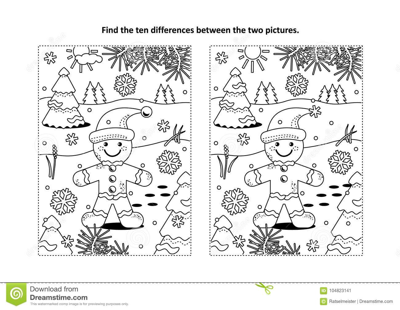 Find The Differences Visual Puzzle And Coloring Page With Ginger Man Stock Vector