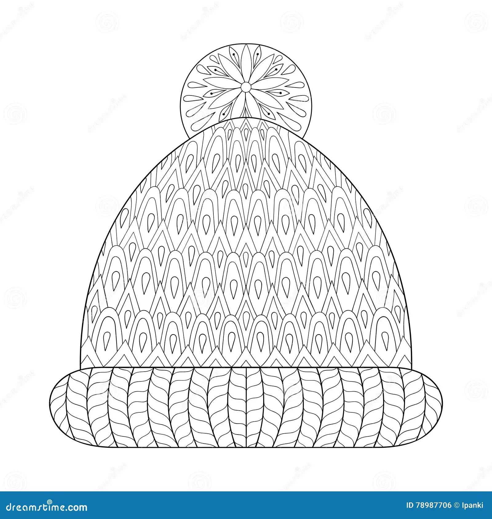 Winter Knitted Cap Mittens In Zentangle, Tribal Monochrome