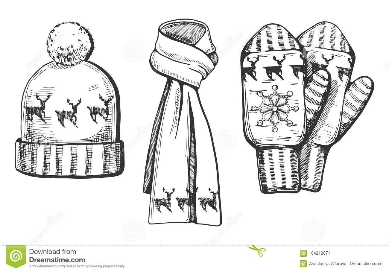 Winter knitted items set stock vector. Illustration of
