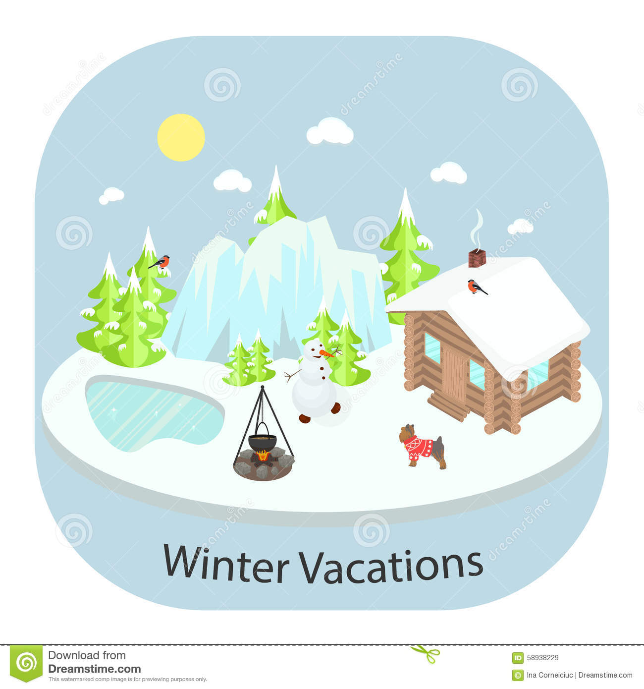 hight resolution of winter landscape background with house