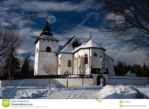 winter landscape with church stock