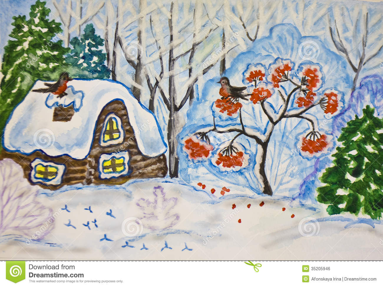 Winter Landscape With House And Ash Tree Painting Stock