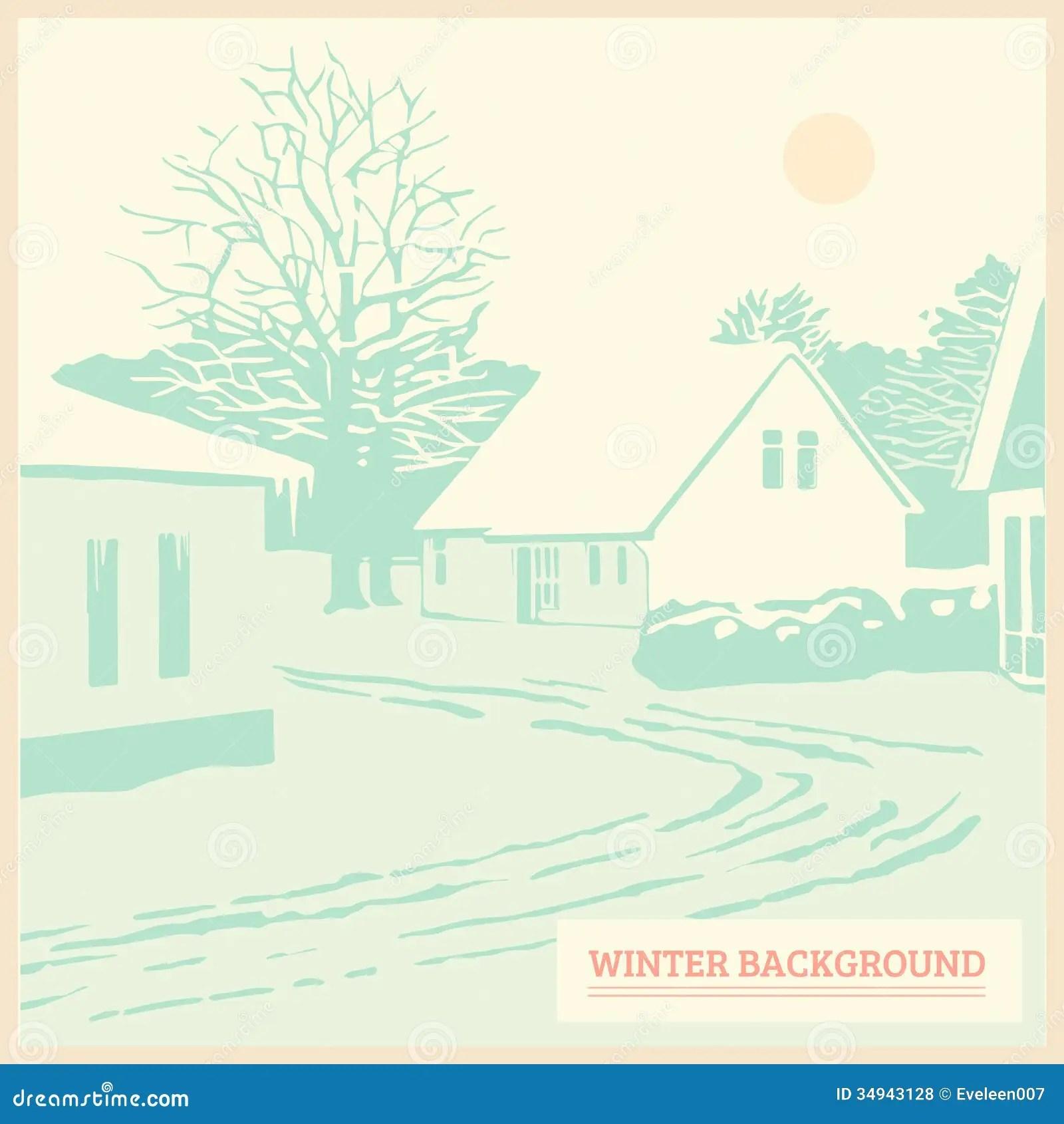 Winter Landscape Vintage Christmas Background Card