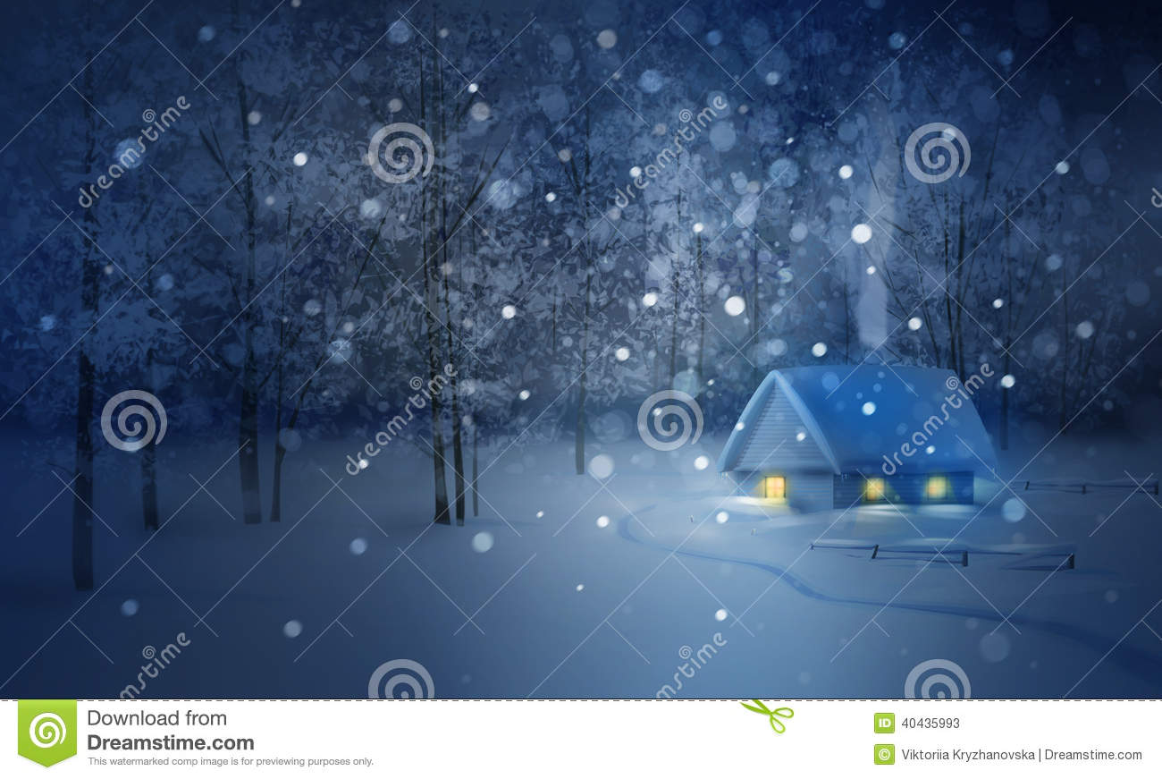 Winter Night Landscape With House In Forest Stock Photo