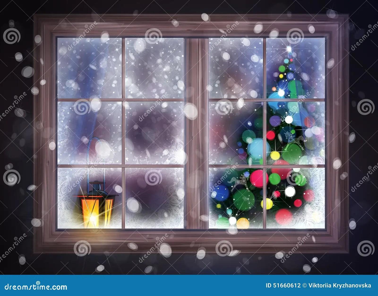 Winter Night Scene Of Window With Christmas Tree And