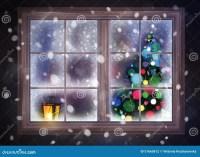Winter Night Scene Of Window With Christmas Tree And ...