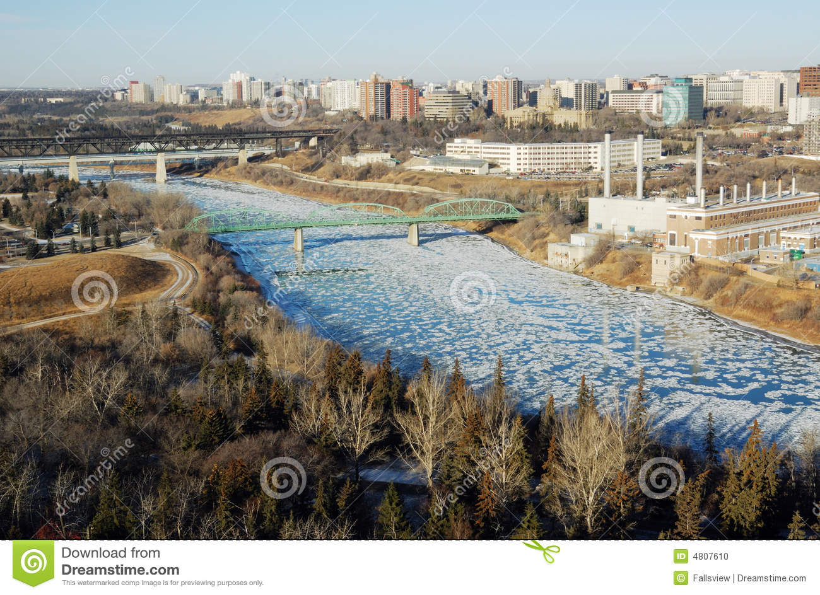 Winter River Valley View In Edmonton Stock Photo