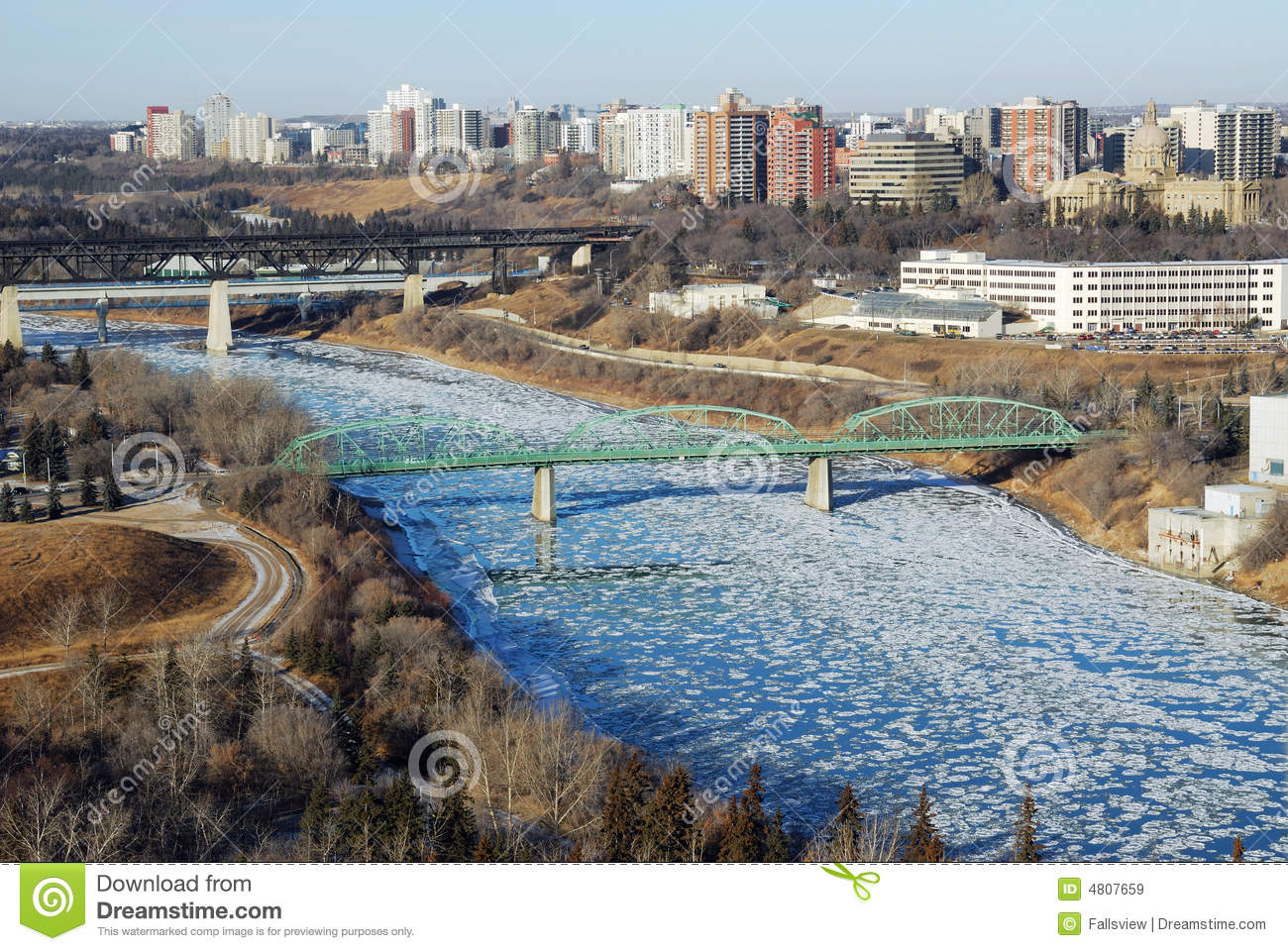 Winter River Valley View In Edmonton Royalty Free Stock