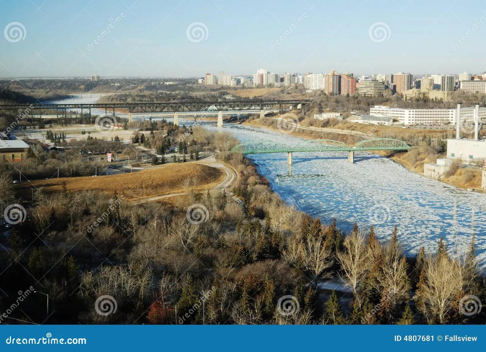 Winter River Valley View In Edmonton Stock Image