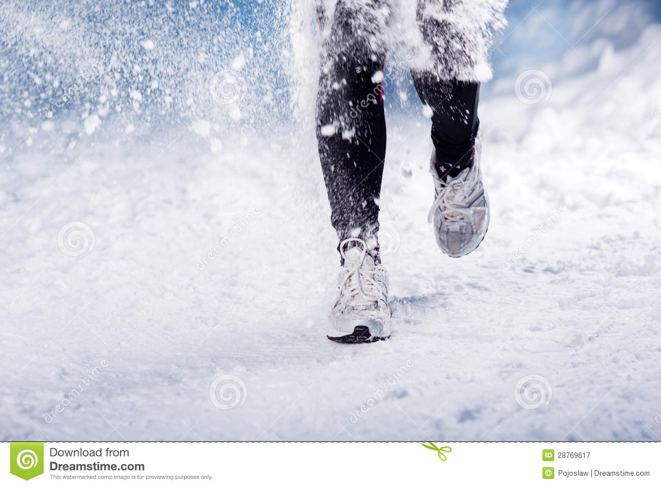 Wallpaper Falling Snow Winter Running Woman Royalty Free Stock Photography