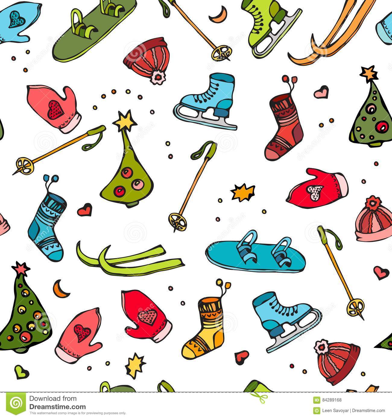 Winter Seamless Pattern Of Sport Equipment