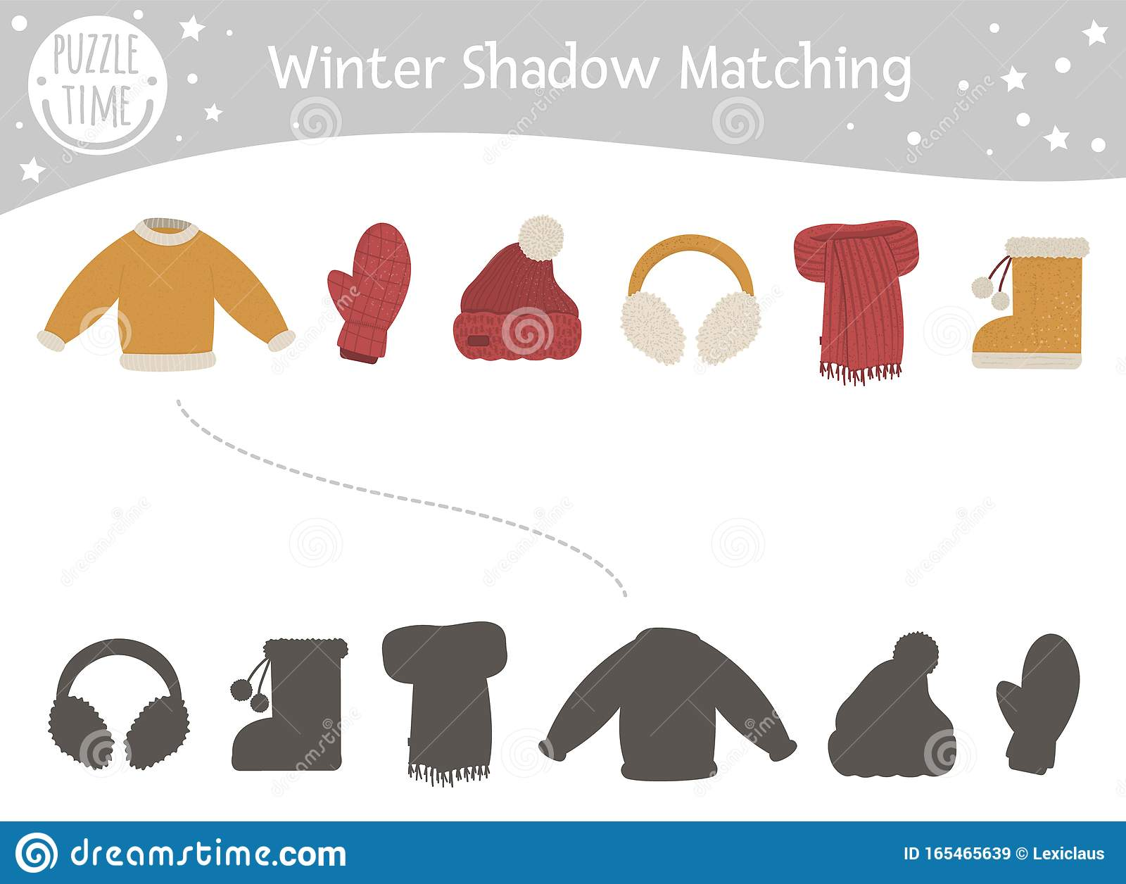 Winter Shadow Matching Activity For Children With Warm