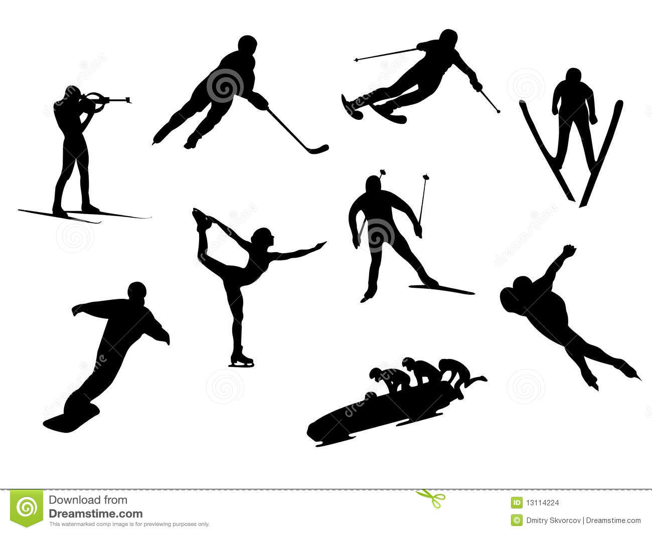 Winter Sport Silhouettes Stock Illustration Illustration