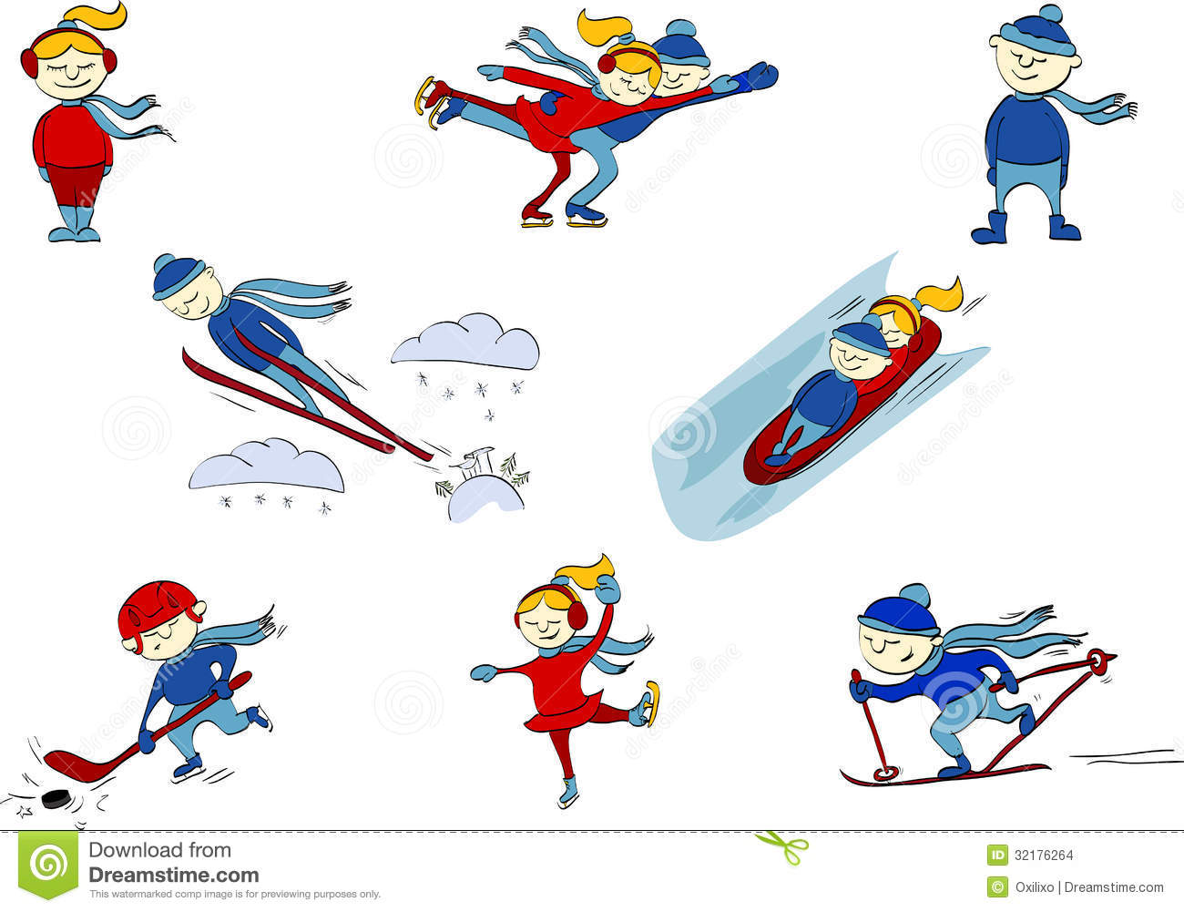 Winter Sports Hockey Figure Skating Skiing Jum Stock