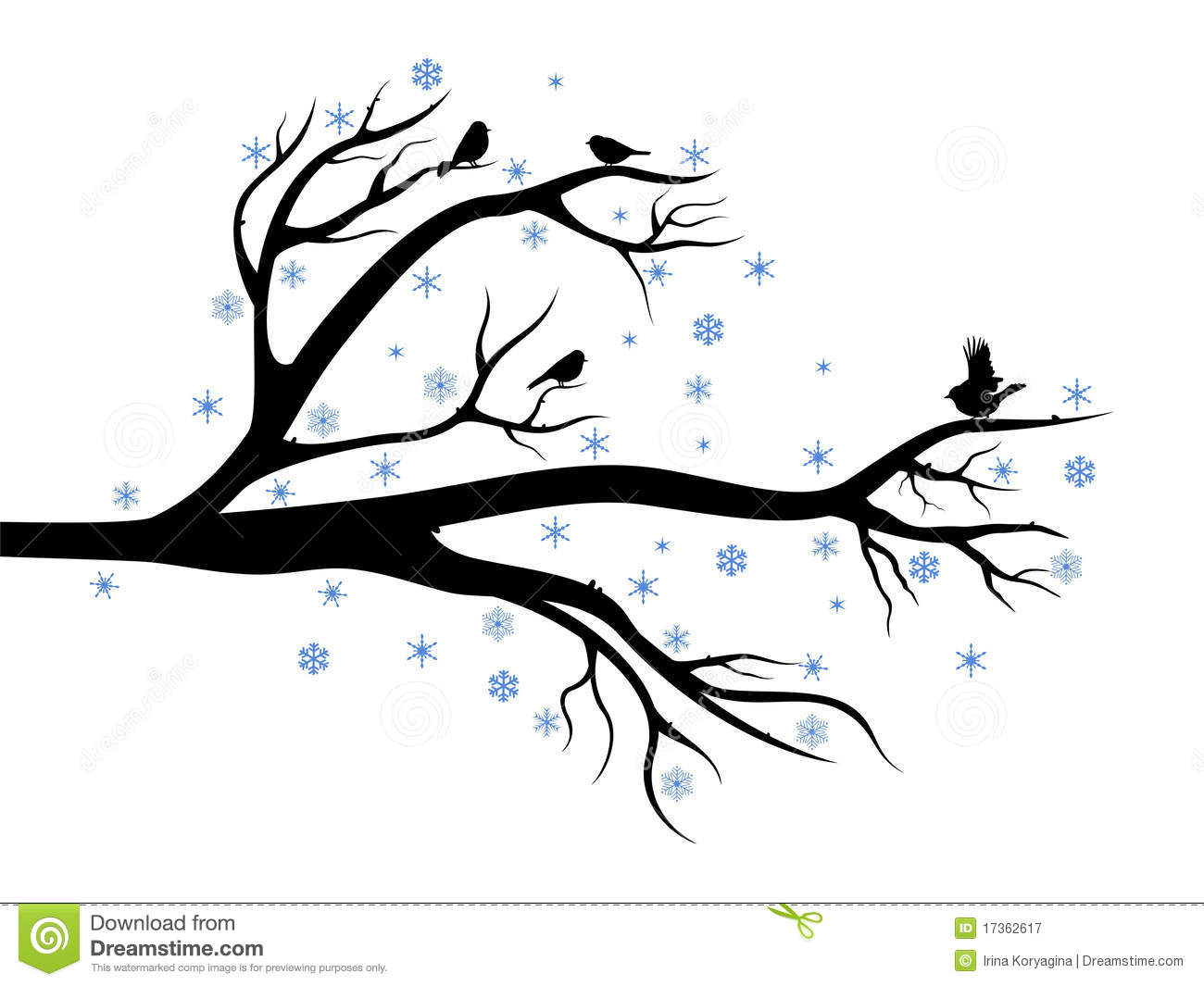 Winter Tree With Birds Stock Vector Illustration Of Cute