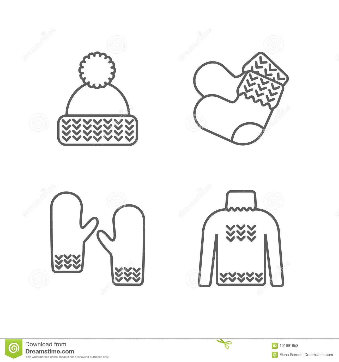 Knit Icon Set. Knitting Clothes, Knitted Samples Thin Line