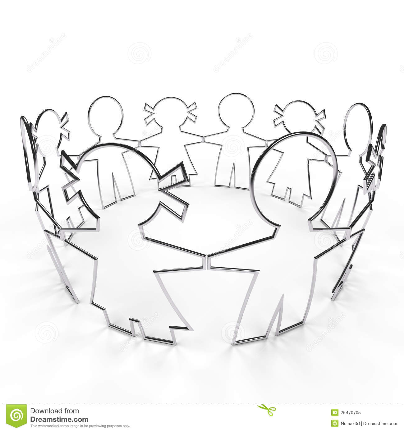 Wire Circle Paper People With Clipping Path Royalty Free
