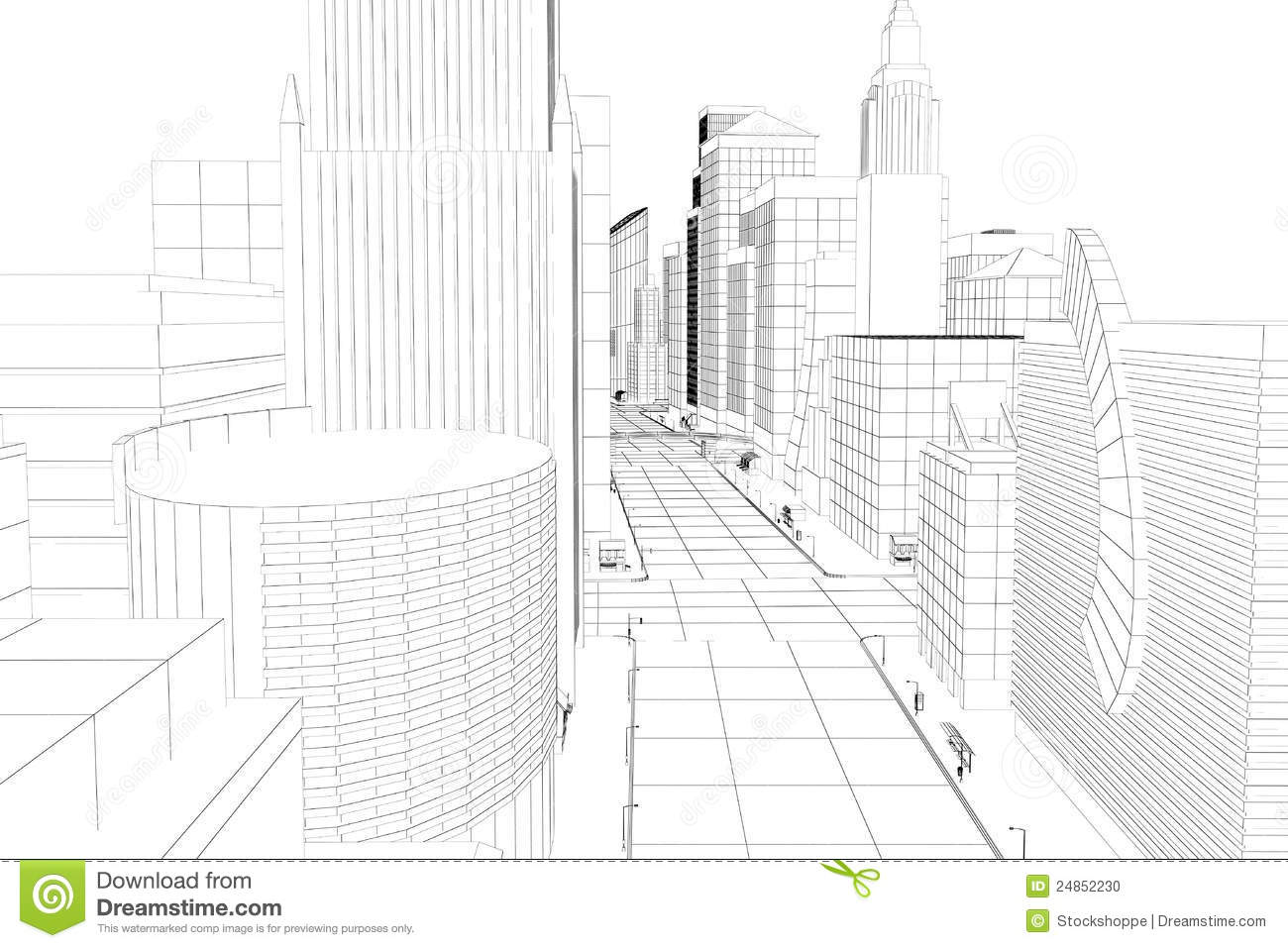 Wire Frame City Stock Illustration Illustration Of